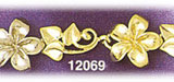 14k two tone gold hawaiian plumeria bracelet