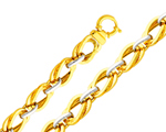 14k Two Tone Gold Designer Contemporary Ring Link Elegant Bracelet