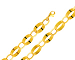 Striking 14Kt Yellow Gold Ladies Fancy Chain Link Light Bracelet