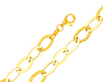 14Kt Yellow Gold Light Fancy Cable Chain Link Ladies Bracelet