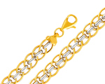 14k two color gold light fancy chain link bracelet