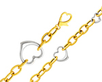 Lovely 14K Two Tone Gold Cutout Heart Women's Fancy Light Bracelet