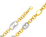 Dazzling 14K Two Tone Gold Fancy Mariner Anchor Chain Women's Bracelet