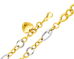 Charming 14K Two Tone Gold Fancy Links Heart Women's Bracelet