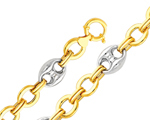 14Kt Two Tone Gold Fancy Mariner Anchor & Chain Link Women's Bracelet