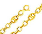 14Kt Yellow Gold Fancy Mariner Anchor & Chain Link Women's Bracelet