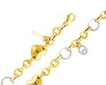 14Kt Two Tone Gold Fancy Heart & Charm Rolo Link Women's Bracelet