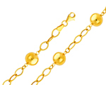 Fantastic 14K Yellow Gold Ball & Cable Link Chain Bracelet