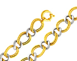 Amazing 14K Two Tone Gold Fancy Link Women's Hollow Light Bracelet
