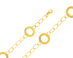 Entrancing 14K Yellow Gold Fashion Designer Circle Link Bracelet