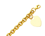 Riveting 14K Yellow Gold Hollow Rolo Link Bracelet With Heart Tag