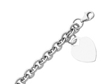Enticing 14K White Gold Hollow Rolo Link Bracelet With Heart Tag