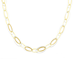 Brilliant 14K Two Tone Gold Light Fashion Designer Link Necklace