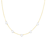 Compelling 14K Two Tone Gold Fashion Designer Heart Link Necklace