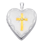 Inspirational 14k White Gold Cross Diamond Locket W/Enamel