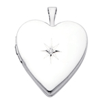 14k white gold heart locket with diamond accent