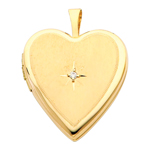 exquisite 14k yellow gold diamond-accent heart locket pendant