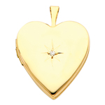 superb 14k yellow gold diamond-accent heart locket