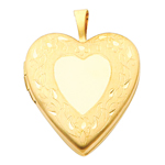 Enchanting 14K Yellow Gold Engraved Decorative Heart Locket Pendant