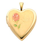 Endearing 14K Yellow Gold Engraved Amor Heart Locket w/Enamel Rose