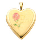 Attractive 14K Yellow Gold Engraved Love Heart Locket W/Enamel Rose
