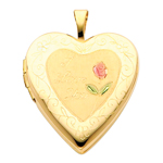 14k gold i love you heart locket with enamel rose