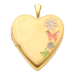 14K Yellow Gold Mis 15 Anos Heart w/Enamel Butterfly & Flowers Locket