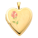 Lovely 14K Yellow Gold Engraved Mom Heart Locket W/Enamel Rose