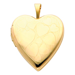 Delightful 14K Yellow Gold Engraved Hearts Heart Locket