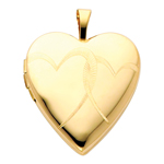14k gold engraved double heart locket