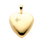 14k gold diamond accent heart locket