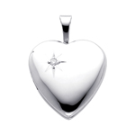 Luminous 14K White Gold Diamond Accent Polished Heart Locket Pendant