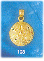 glistening 14k gold sand dollar charm pendant with crab embellishment