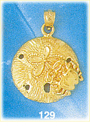 ornate 14k yellow gold sand dollar charm pendant with crab detailing