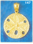 stupendous 14k yellow gold sand dollar pendant with textured detailing