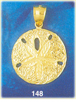 delightful 14k yellow gold sand dollar pendant with textured detailing