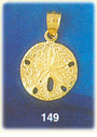 excellent 14k gold sand dollar charm pendant - brilliantly crafted