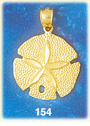 appealing 14k gold sand dollar charm pendant - eye catching design