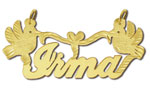 14k gold designer personalized love birds script nameplate