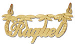 14k gold designer personalized palm trees script nameplate