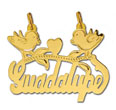 14k gold designer birds w/heart nameplate