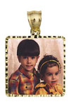 14k gold large square with diamond cut frame photo pendant