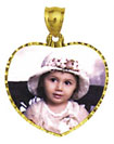 14k gold large heart with diamond cut frame photo pendant