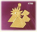 14k gold egyptian pyramids with sun charm pendant