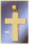 14k gold roman cross inside cross pendant