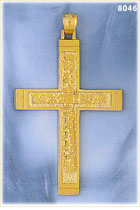 large classic 14k gold nugget cross pendant