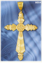 14k gold xlarge ornate cross pendant