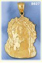 14k gold jesus christ wearing crown of thorns pendant