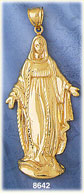 14k gold virgin mary mother of christ statue pendant