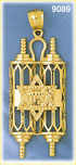 14k gold torah & star of david pendant